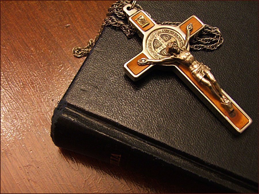 Picture of The Holy Bible with a Cross
